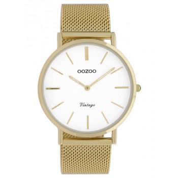 OOZOO Vintage - C9909, Gold case with Stainless Steel Bracelet