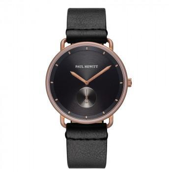 PAUL HEWITT Breakwater - PH-BW-BrBr-BS-60M,  Rose Gold case with Black Leather Strap
