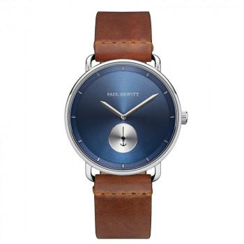 PAUL HEWITT Breakwater - PH-BW-S-NS-57M,  Silver case with Brown Leather Strap