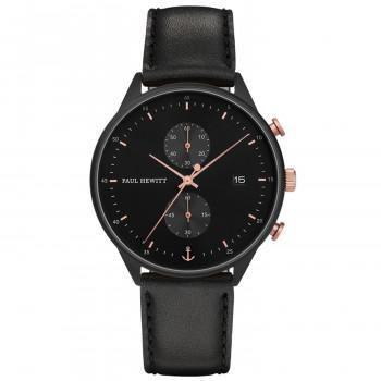 PAUL HEWITT Chrono Line  - PH-C-B-BSR-2M,  Black case with Black Leather Strap