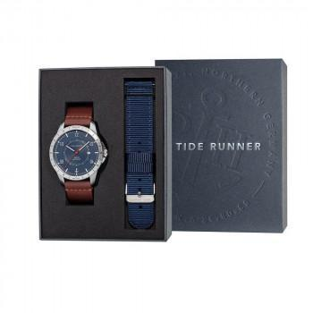 PAUL HEWITT Tide Runner Gift Set - PH002830,  Silver case with Brown Leather Strap