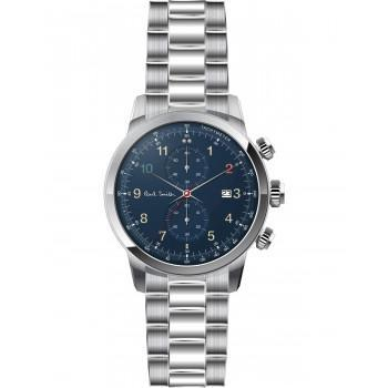 PAUL SMITH Block Chronograph - P10143,  Silver case with Stainless Steel Bracelet