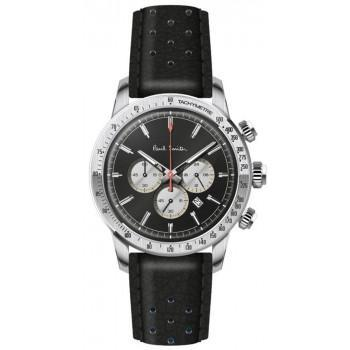 PAUL SMITH  Chronograph - PS0110001,  Silver case with Black Leather Strap