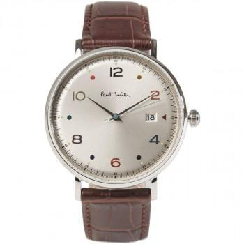 PAUL SMITH Gauge - PS0060002, Silver case with Brown Leather Strap