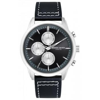 PIERRE CARDIN  Champerret  Mens - PC902741F03, Silver case with Black Leather Strap
