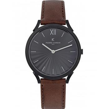 PIERRE CARDIN Pigalle Mens - CPI.2007, Black case with Brown Leather Strap
