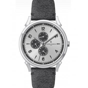 PIERRE CARDIN Pigalle –Νine  - CPI.2029, Silver case with Black Leather Strap
