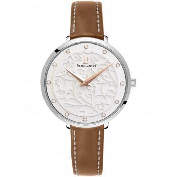 PIERRE LANNIER Eolia Crystals - 040J604  Silver case with Brown Leather strap
