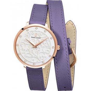PIERRE LANNIER Eolia Crystals  - 043K909  Rose Gold case with Purple Leather strap