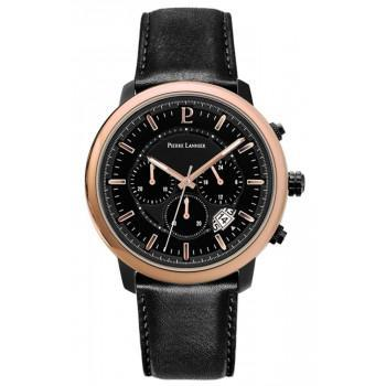 PIERRE LANNIER Implusion Chronograph  - 229F433  Black case with Black Leather strap