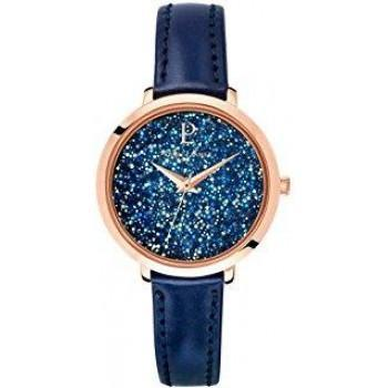 PIERRE LANNIER Ladies Crystals - 105J966  Rose Gold case with Blue Leather strap