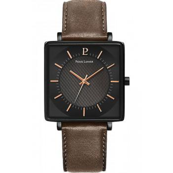 PIERRE LANNIER Lecare - 211J434  Black case with Brown Leather strap