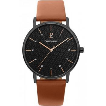 PIERRE LANNIER Mens - 203F434  Black case with Brown Leather strap