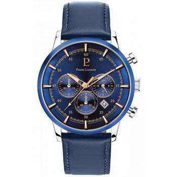 PIERRE LANNIER Mens Chronograph  - 224G166  Silver case with Blue Leather strap
