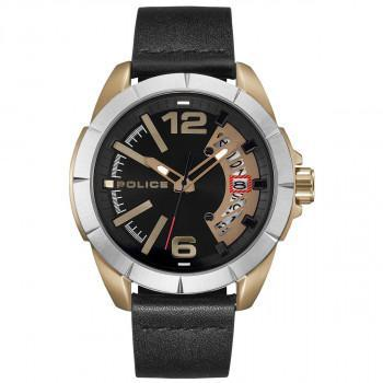 POLICE Banos - PL.15652JSKU/02,  Gold case with Black Leather Strap