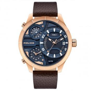 POLICE Bushmaster Triple Time - PEWJB2110602  Rose Gold case with Brown Leather Strap