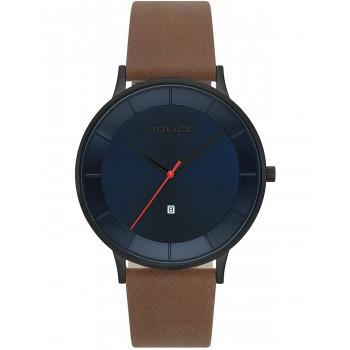 POLICE  Fontana - PL15400JSU-03, Black case with Brown Leather Strap