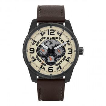 POLICE Lawrence - PL.15663JSU/14,  Black case with Brown Leather Strap