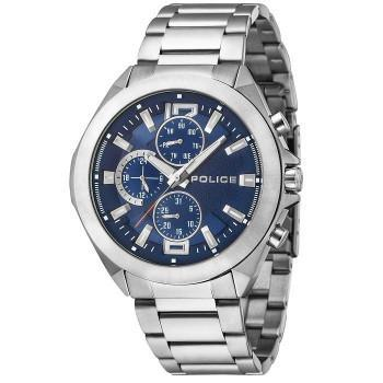 POLICE Metal Multifunction - PL.15366JS03M,  Silver case with Stainless Steel Bracelet