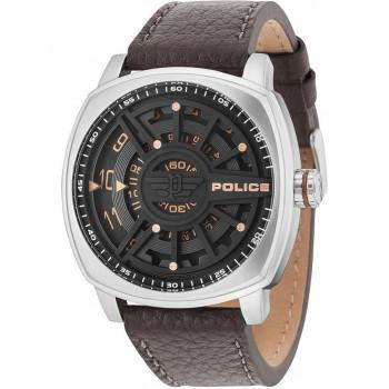 POLICE Speed Head - 15239JS/02  Silver case with Brown Leather Strap