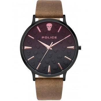 POLICE Tasman - PL.16023JSB/02,  Black case with Brown Leather Strap