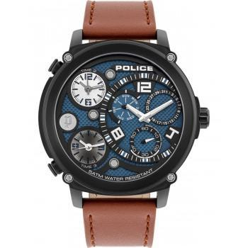 POLICE Titan Triple Time - PL.15659JSB/03   Black case with Brown Leather Strap