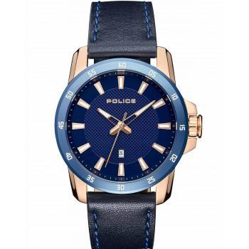 POLICE Tromso - PL15526JSRBL-03, Rose Gold case with Blue Leather Strap