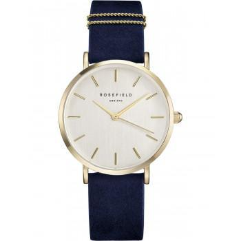 ROSEFIELD The West Village - WBUG-W70,  Gold case with Blue Leather Strap