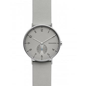 SKAGEN Aaren Mens - SKW6467, Silver case with Gray Leather Strap
