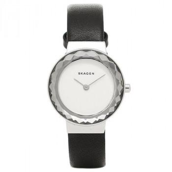 SKAGEN Leonora - SKW2428  Silver case  with Black Leather Strap