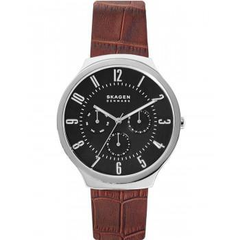 SKAGEN Grenen Mens - SKW6536, Silver case with Brown Leather Strap
