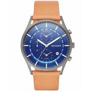 SKAGEN Hagen Chronograph  - SKW6285  Grey case with Brown Leather Strap