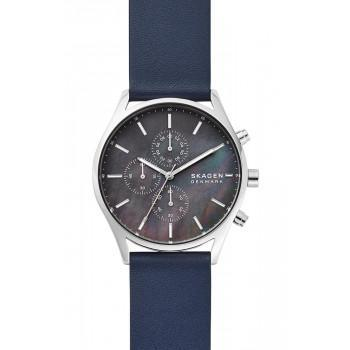 SKAGEN Holst  Mens - SKW6653, Silver case with Blue Leather Strap
