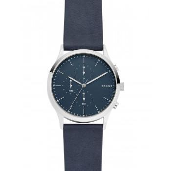 SKAGEN Jorn Chronograph Mens - SKW6475  Silver case with Blue Leather Strap