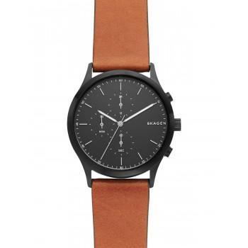 SKAGEN Jorn Chronograph Mens - SKW6477  Black case with Brown Leather Strap