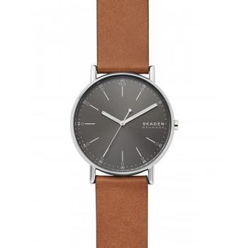 SKAGEN Signatur Mens - SKW6578  Silver case with Brown Leather Strap
