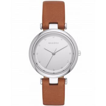 SKAGEN Tanja Ladies  - SKW2458  Silver case with Brown Leather Strap