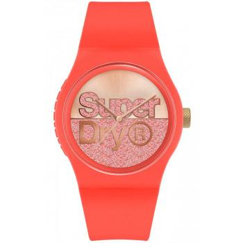 SUPERDRY Urban Glitter - SYL273O,  Coral case with Coral Rubber Strap