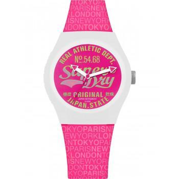 SUPERDRY Urban Paradise  - SYL249P,  White case with Fuchsia Rubber Strap