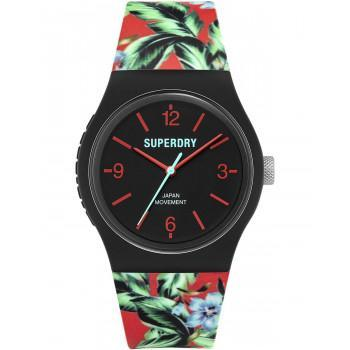 SUPERDRY Urban Tropic - SYG298BN,  Black case  with Multicolor  Rubber Strap