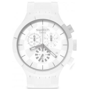 SWATCH Big Bold Chronograph - SB02W400, White case with White Rubber Strap