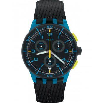 SWATCH Blue Tire Chronograph - SUSS402, Blue case with Black Rubber Strap