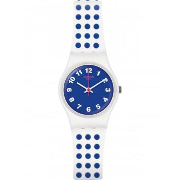 SWATCH Bluedots - LW159  White Case with Blue & White Rubber Strap