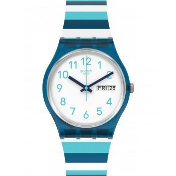 SWATCH Striped Waves - GN728  Blue case with Multicolor Rubber Strap