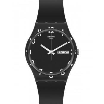SWATCH Gents Over Black - GB757,  Black case with Black Rubber Strap