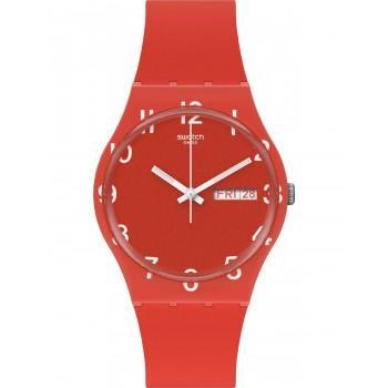 SWATCH Gents Over Red - GR713,  Red case with Red Rubber Strap