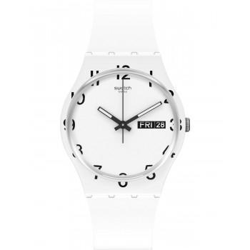 SWATCH Over White - GW716,  White case with White Rubber Strap