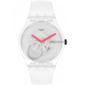 SWATCH Snow Blur - SUOW172,  White case with White Rubber Strap