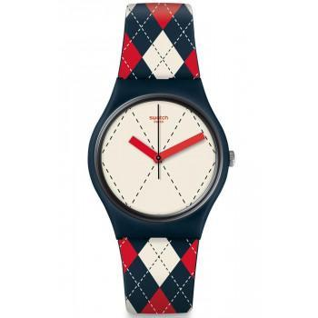 SWATCH Socquette - GN255,  Blue Case with Multicolor Rubber Strap