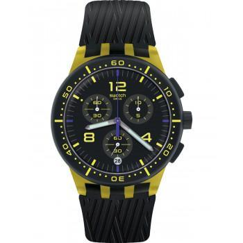 SWATCH Yellow Tire Chronograph - SUSJ403, Yellow case with Black Rubber Strap